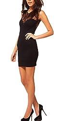 Monissy Womens Summer Sleeveless Slim Sexy Stitching Lace Dress