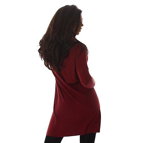 Voyelles signore pullover vestito mini abito mini camicia lunga oversize girocollo maniche a pipistrello Uni-Look Bordeaux