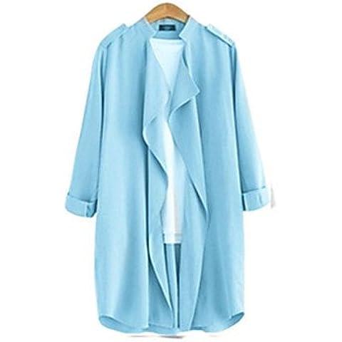 EIK Cappotto Da donna Casual / Da ufficio / Taglie forti Maniche a ¾ Lino , light blue , l