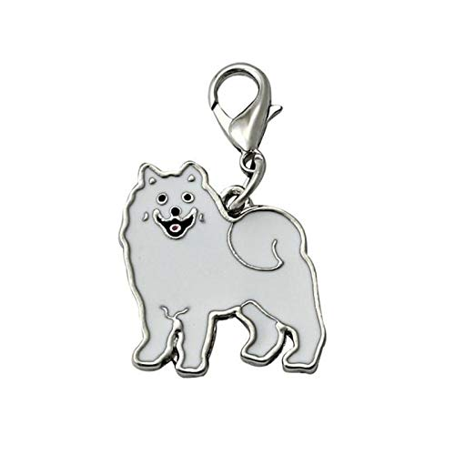 Heylookhere Praktisch einzigartig Samojede Schlüsselanhänger Haustier Hund Label Anhänger Geschenk Schmuckstücke Tasche Handtasche Ornament DIY Handwerk (weiß) -