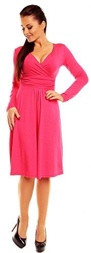 Zeta Ville - Robe patineuse - manches longues - robe de cocktail - femme - 890z Fuchsia