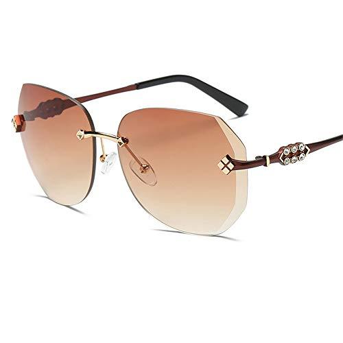 LEIAZ Sonnenbrillen Für Damen, Polarisierte Sonnenbrille Uv400 Schutz Rahmenlos Farbverlauf Ozean Farbe 4 Farben Erhältlich,Brown