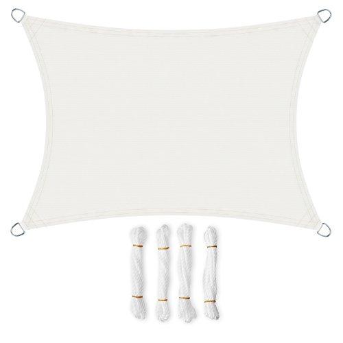 SONGMICS 4 x 6 m Tenda Parasole Vela Ombreggiante in PES, Protettiva dal Sole, Resistente alle Intemperie, in Poliestere, Bianco GSH46IVV1