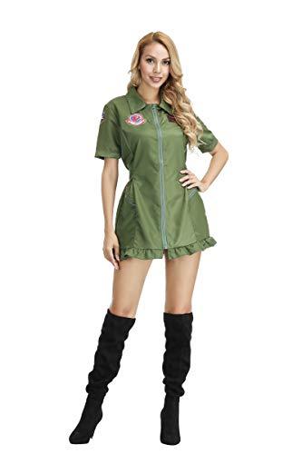 aizen Frauen Fluganzug Air Force Fighter Pilot Top Gun Erwachsene Kostüm Pilotin Overall Halloween Cosplay Party Arbeitskleidung Armee Grün (Xxl Für Erwachsene Pilot Kostüm)