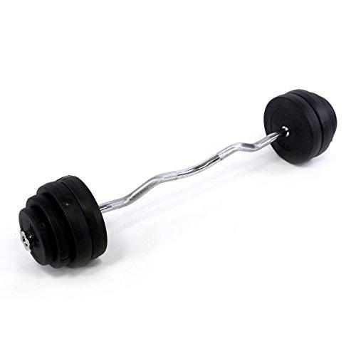 SZ Curlstange 35 kg gerändelt und verchromt inkl. Sternverschlüssen + 10 Scheiben Hantelscheiben 7,5 kg - 35 kg Curl Set Hantelset