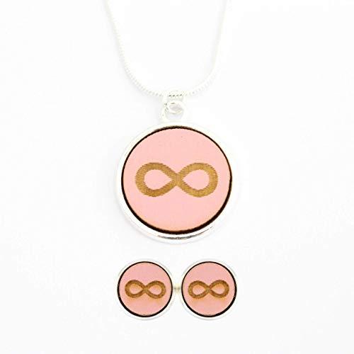 Schmuckset Kette-Ohrringe versilbert | Holz - Unendlichkeit Symbol rosa