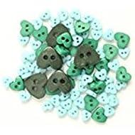 Trimits-Confezione di Mini bottoni a forma di cuore, colore: verde