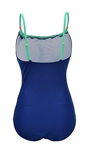 Azue Damen Große Größe Elegant Monokini Einteilig Bauchweg Badeanzug Bademode Push up Strandmode Strandkleidung Badebekleidung Hellgrün