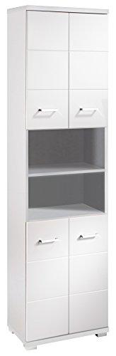 CAVADORE Badezimmer Hochschrank NUSA 50 cm Breit/Eleganter Badschrank mit Hochglanz Weiß lackierter...