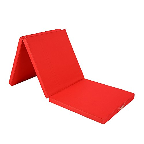 AYNEFY Faltbare Gymnastikmatte,Premium Faltbar Yogamatte Gepolstert & rutschfest Gymnastikmatte rutschfest Yoga Matte Fitnessmatte Trainingsmatte Dicke Sportmatte für Yoga Pilates 180 * 60 * 5cm(Rot)