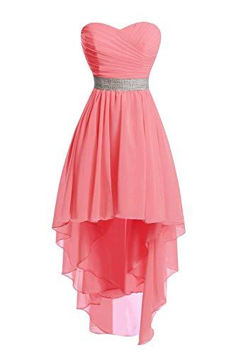 JAEDEN Ballkleider Damen Brautjungfernkleid Hochzeit Partykleid Herzausschnitt Abendkleid Vorne Kurz Hinten Lang Koralle EUR42