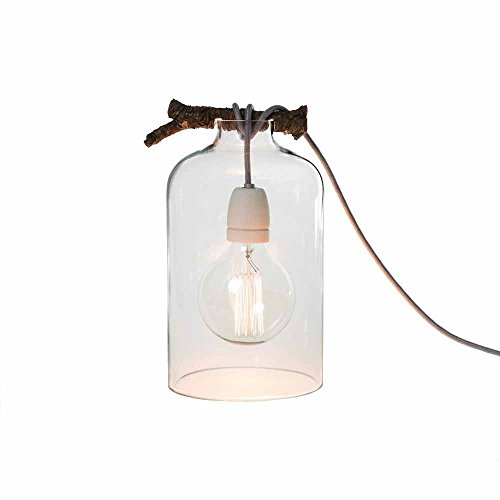 milanari Tischlampe Glasglocke Holz & Glas Natur Ø 17 cm; Höhe 28 cm -