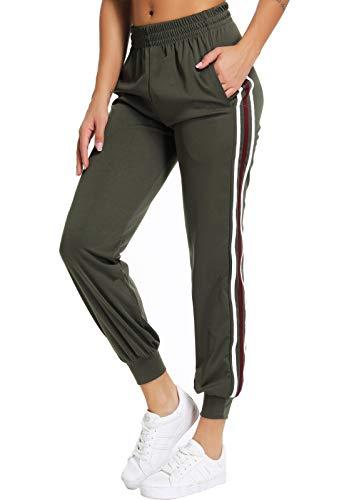 SEASUM Pantaloni Sportivi da Donna Jogging Fitness a Righe Bianche Lunghi Verde Militare L