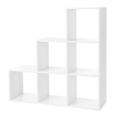 VASAGLE - Estantería para Libros, escaleras, 6 Compartimentos en Forma de Cubo, estantería de Madera, estantería Independiente, Color Blanco, LBC63WT, 97,5 x 97,5 x 29 cm