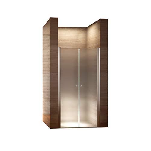 CADENTRO Porte de Douche Hauteur 185 cm - Largeur réglable/Verre dépoli avec Traitement Nano Anti-calcaire (76-80 cm, dépoli/Opaque)