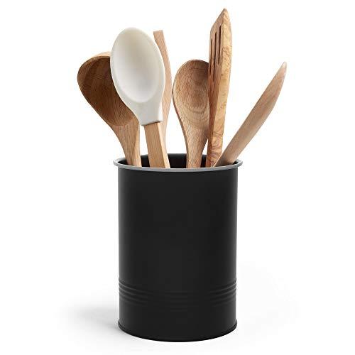 VonShef - Recipiente para utensilios de cocina, color negro mate