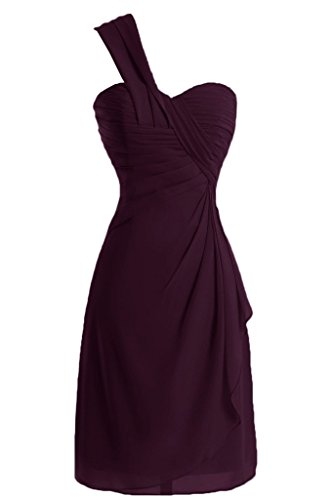 Sunvary a-line One-Shoulder Ruched garza vestiti Homecoming cocktail Grape