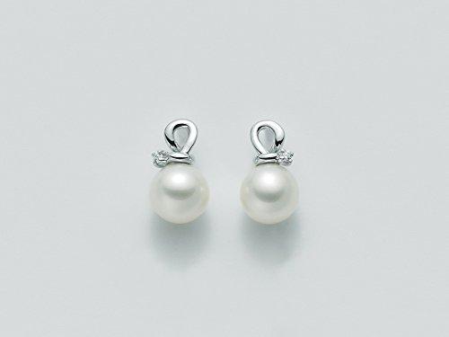 Orecchini Miluna con Perle e Diamanti 0.018ct in oro bianco PER1834X