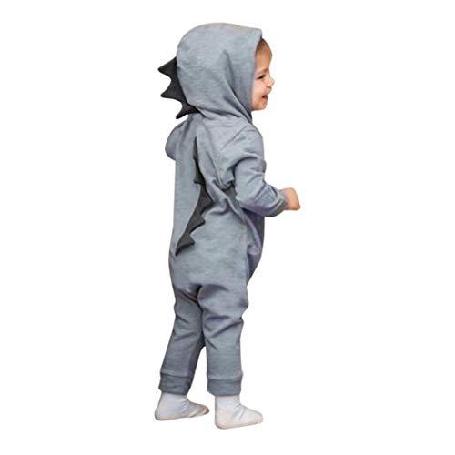 DAY8 Vêtement Bébé Garçon Naissance 0-18 Mois Pyjama Bébé Garçon Hiver 2018Combinaison Bébé Garçon Manche Longue Dinosaure Body Bébé Fille Capuche Grenouillères Barboteuses (90(12-18 Mois), Gris)