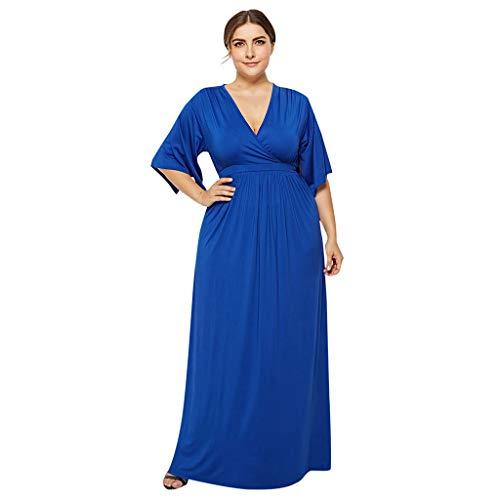 iYmitz Damen Übergröße Kleider Irregular Einfarbig V-Ausschnitt Maxikleider Lose Large Swing Bat Ärmel Frauen ()