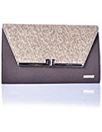 Veuza Madrid Premium Jacquard And Faux Leather Choco Brown Women's Clutch