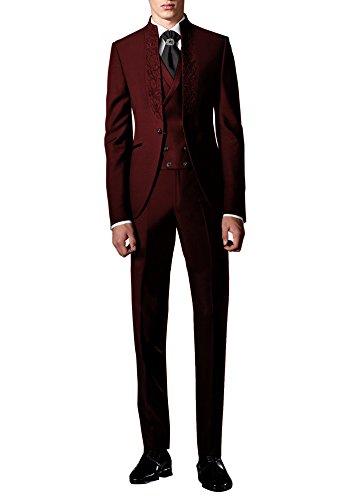 lig Stickerei Hochzeit Anzug Party Tuxedos Smoking Anzuege Sakko,Weste,Hose Rot XL (Schöne Anzüge Für Billig)