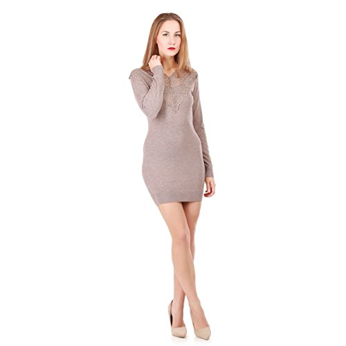 La Modeuse - Robe pull moulante à manches longues Taupe