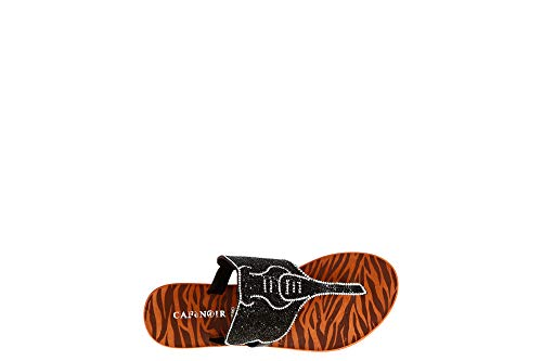 Sandalo Infradito Cafè Noir GB106 Nero con sagoma Strass Elefante 36