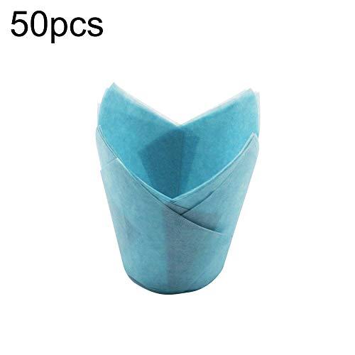 ZqiroLt Küche liefert, 50 Stücke Hochtemperaturbeständige Kuchen Pappbecher Tulip Muffin Back Case Liner - Blau Blau Back Case