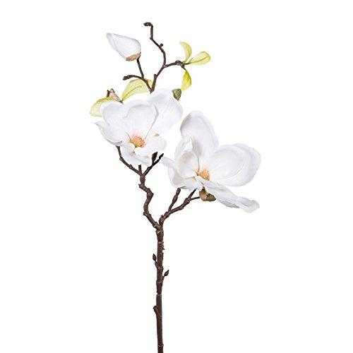 Kunstblume MAGNOLIE 50 cm. Mit Magnolien Blüten und Knospen. Weiß WEISS -40