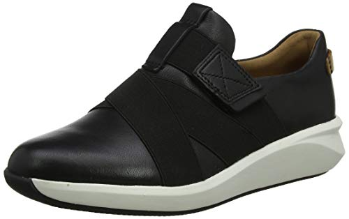 Clarks Damen Un Rio Strap Sneaker, Schwarz (Black Leather), 38 EU