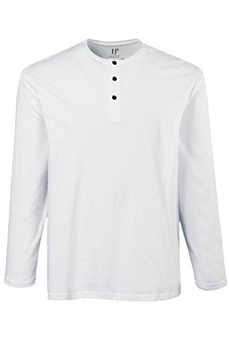 JP 1880 Herren große Größen | Langarm-Shirt | Henley-Form | Knopfleiste | Rundhalsausschnitt | bis Größe 8XL | 702555 Weiß