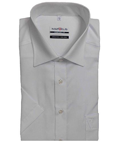 MARVELIS Comfort Fit Hemd Halbarm mit Brusttasche weiss,46 (Kurzarm-hemd Mit Kragen Weißes)