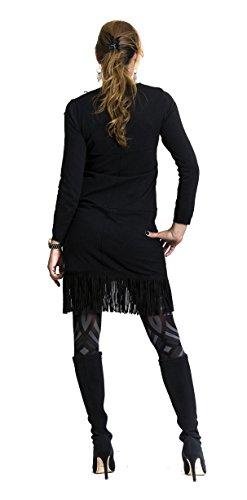 """STEKOST - Robe courte à franges - """"CHAYMA"""" Noir"""