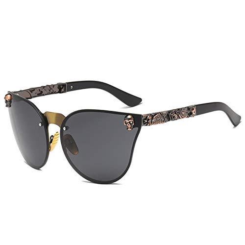 Passionate turkey Leidenschaftlich Truthahn muselife Mode Frauen Gothic Sonnenbrille Schädel Rahmen Metall Tempel hohe Sonnenbrille oculos de sol Feminino, c1-braun-schwarz