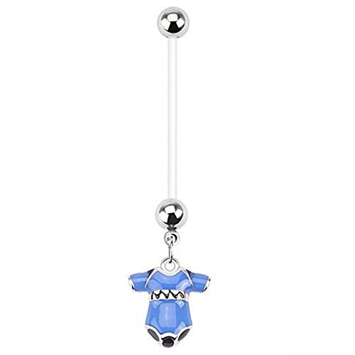 1 x Pretty in Blue Baby Grow Charm Pregnancy Belly Bar Piercing  Dicke: 1,6 mm  Length : 25mm  Material : Bio Flex / (Kostüm Baby Pille)