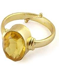 Pranjal Gems 8.25 Ratti Natural Certified Full Transparant Beautiful Cultured Pukhraj Ring for Men and Women