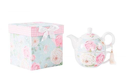 Tetera con taza de porcelana rosas, con caja de regalo (14.5x14.5)