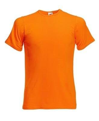 Fruit of the Loom New Slim Fit T Shirt. Das Qualitäts Shirt im Stretch Style. Körperbetonter Schnitt und Elastananteil in 8 Farben und den Grössen S bis XXL Poppy Orange,S