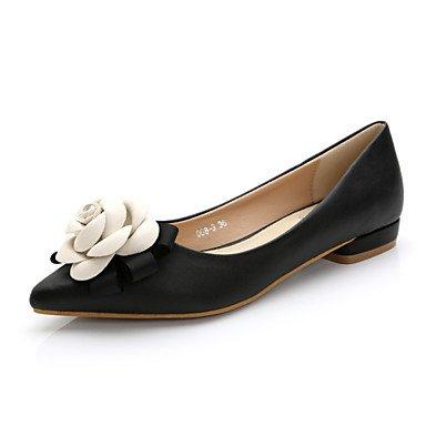 Confortevole ed elegante piatto scarpe donna Appartamenti Primavera / Estate / Autunno Comfort / Punta / punta chiusa Casual tacco piatto fiore a piedi Black/White