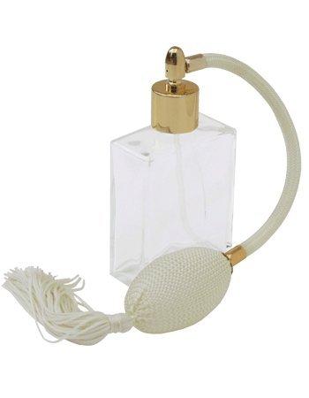 Antikes Elfenbein Finish (Glas klar elegante nachfüllbar Parfum Zerstäuber mit elfenbeinfarbenem Quaste und Gold Finish, 60ml inklusive Trichter.)