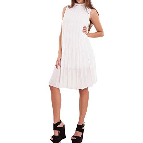 Toocool - Vestito donna mini abito corto velato ampio plissettato elegante nuovo CR-2484 Bianco