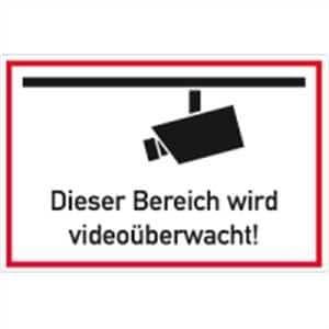 Schild Dieser Bereich wird videoüberwacht  Alu 20 x 30cm