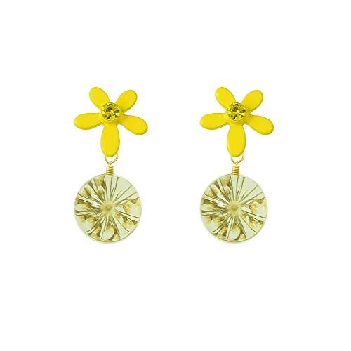 Feelontop® Modeschmuck Gelbe Blume Transparent Niedlich Ball Drop Party Ohrringe für Frauen mit Schmuckbeutel