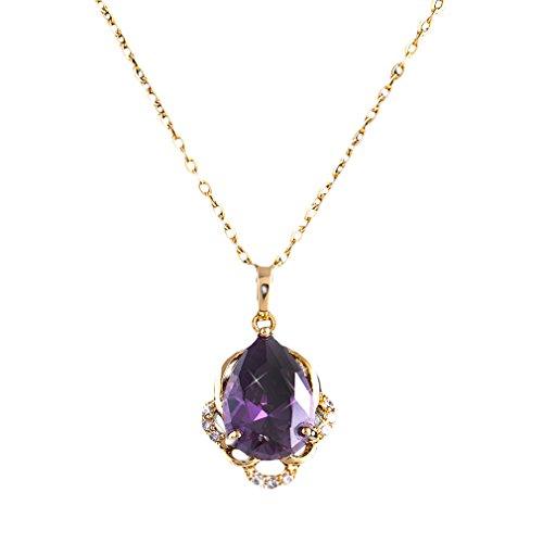 YAZIlIND Jewelry Schmuck gold vergoldet Kristall elegante Damen Halskette mit Anhänger violet lila 45cm