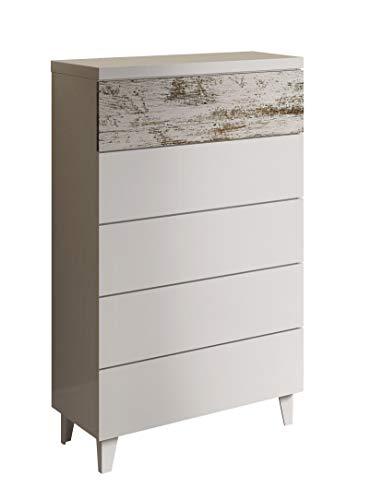 Habitdesign 037835BO - Comoda chifonier Vintage, mueble dormitorio acabado color Blanco Brillo y Decapé, medidas: 117 x 61 x 40 cm de fondo