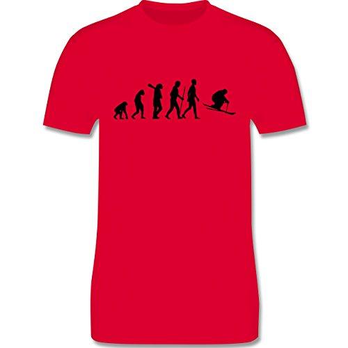 Evolution - Skiabfahrt Evolution - Herren Premium T-Shirt Rot