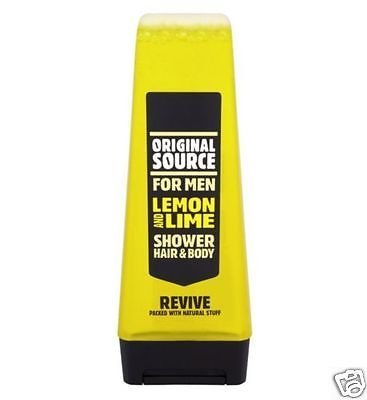 Original Source Natural Fragrance For Men Lemon & Lime Shower Gel Hair Body Wash Revive 250 ML With Tupperware Small Utility Keeper 1pc