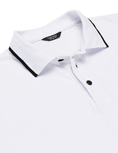 Burlady Herren Poloshirt Kurzarm Einfarbig Sommer T-Shirt Men's Polo Shirt 23-Weiß