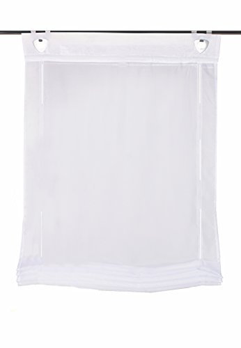 Home fashion 91405–701bianco h: 130x b: 60cm tenda a pacchetto voile a tinta unita